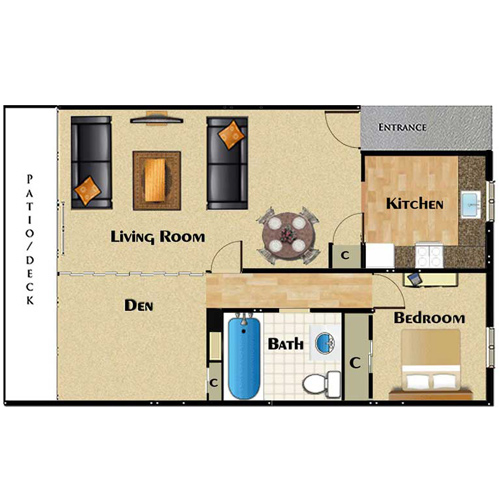 One two bedroom apartments for rent la palma apartments for One big room apartment