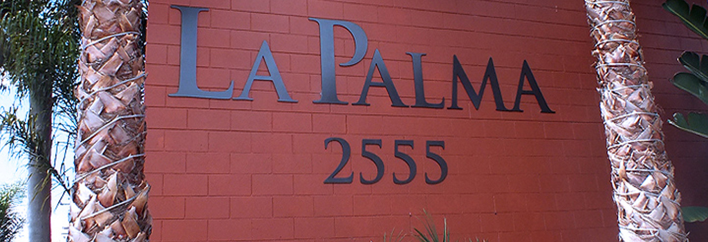 La Palma Sign and Palm Trees